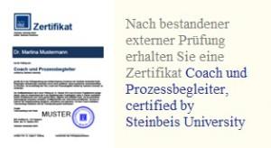 Optionales Zertifikat zum Coach und Prozessbegleiter durch die Steinbeis Hochschule